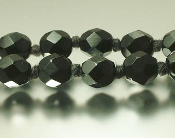 Vintage/ estate 1930s/ 40s long length, French jet / crystal black goth glass bead costume necklace - jewelry / jewellery