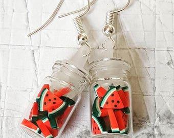 Watermelon Slices Jar Earrings