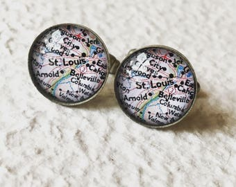 St Louis Map Cufflinks - St. Louis, Missouri Cuff Link Set - YOU choose your favorite map from 25 choices