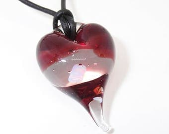 Transparent Red and Clear Glass Floating Opal Heart Lampwork Boro Pendant Necklace2 - Prima Donna Beads