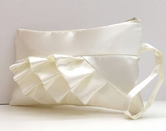 Ivory Diagonal Satin Ruffled Bridal Clutch