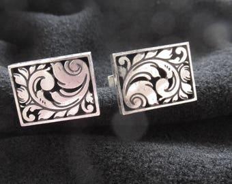 Vintage Sterling Silver Designer Cufflinks Cuff Links Harold Fithian Mid Century Modern Modernist Mens Jewelry