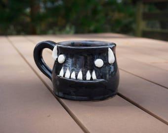 hand thrown, ceramic demon mug