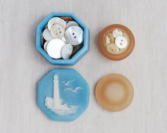 2 Vintage Resin Trinket Boxes - small octagon Incolay lighthouse and tiny round frosted plastic lidded box set - mother of pearl buttons