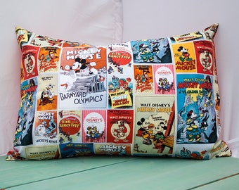 Pillowcase Made with Disney Mickey Mouse Fabric - fits 13 x 18 or 12 x 18 Travel or Toddler Pillow