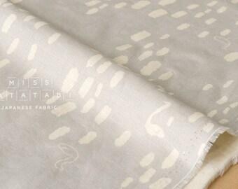 Japanese Fabric 100% linen swans - grey -  50cm