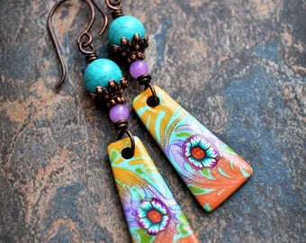 Orange Turquoise. Colorful boho earrings. Polymer clay drops. Solid copper wire. Flower earrings. Abstract style.