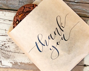 RUSH - Thank You Favor Bag - Calligraphy Thanks - Budget Favor Bag - Cookies and Candy Favor  - 20 Bags - IN STOCK, Quick processing