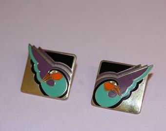 VINTAGE Laurel Burch SHABIRD pierced / post earrings
