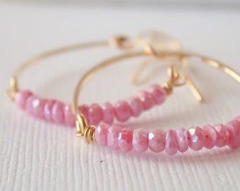 Pink Opal Hoop Earrings. Embellished Hoop Earrings. Gemstone Hoops.