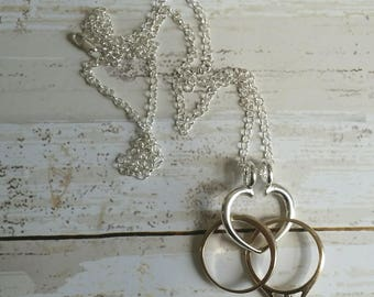 Heart Shaped Sterling Silver Ring Keeper with Sterling Silver Chain