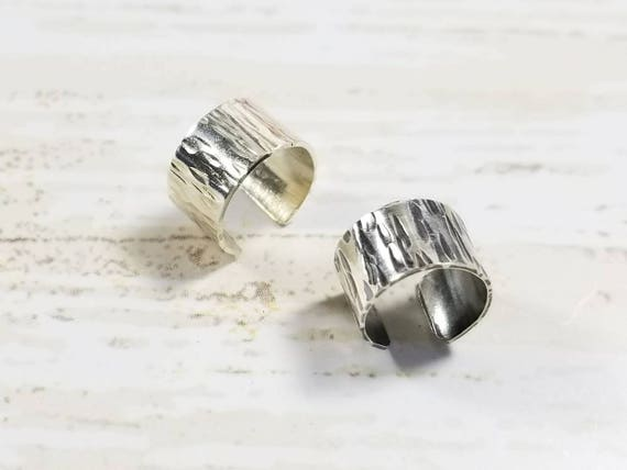 Sterling Silver Ear Cuff - Birchbark Texture, Hammered Ear Cuff