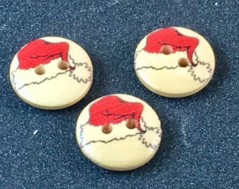 Wood Wooden Christmas  Holiday Xmas Santa Hat  Button Buttons   C27