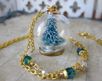 Portal To Winter - Christmas Tree Evergreen Snow Globe Pendant