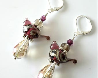 Lampwork Bird Earrings, Amethyst Birds, Topaz Crystals, Silver Earrings, Beaded Jewelry, Beaded Earrings, Drop Earrings, One of a Kind