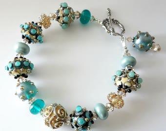 Turquoise Lampwork Bracelet, Aqua, Amber, Topaz, Sterling Silver, Swarovski Crystals, Dots, Swirls, Beaded Jewelry, OOAK, Gift For Her