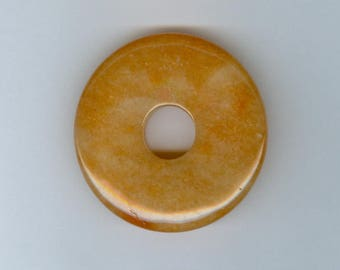 Red Aventurine Pendant, 45mm Red Orange Aventurine Gemstone PI Donut Focal Pendant 680