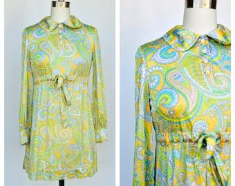 60s mod psychedelic twiggy paisley  mini Dress / small - medium