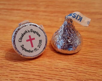 """Personalized Baptism Christening Communion Hershey Kiss Stickers Labels 0.75"""""""