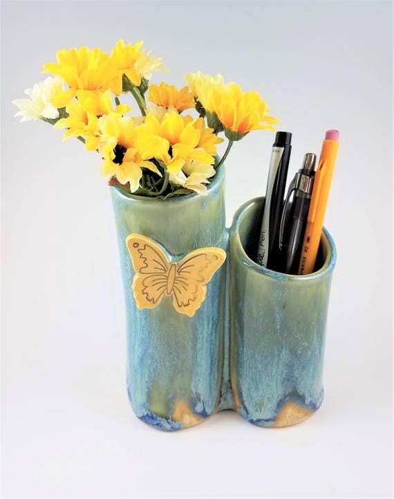 Butterfly Vase - Handmade Pottery - Double Vase - Desk Accessory - Pen Holder - Artist Brush Holder - Stoneware Bud Vase - Butterfly Lover