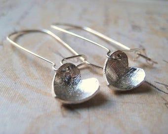 Heart Earrings, Sterling Silver, Brushed Hearts, Dangling Charm, Kidney Earwires, candies64