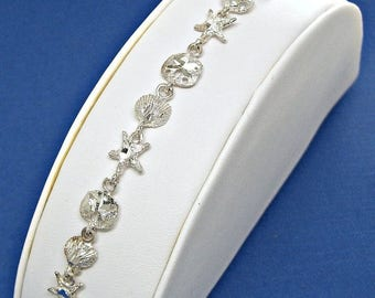 SALE Bracelet Sea Shells Sterling Silver Sea Life Diamond Cut Link Charms 7 inches Style no. 3305