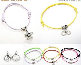 SALE Bracelet or Anklet Adjustable Lotus Flower, Ohm Om, Infinity Sterling Silver Meditation Friendship String Boho 6 colors 501