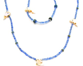 Necklace & Bracelet Sets 12-24-48 PC LOTS MOP Sea Shell Dolphins Fetishes on Seed Beads 7054