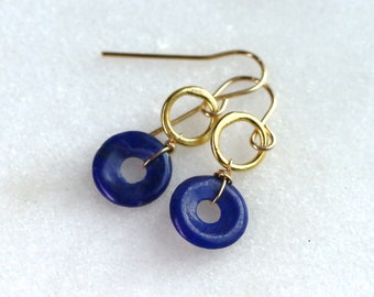Simple Loopy Loops of Lapis, 22k Gold Vermeil Essential Earrings...