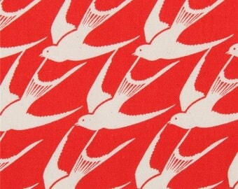Cotton + Steel FABRIC - Collaborative - S.S. Bluebird - Flock in Red