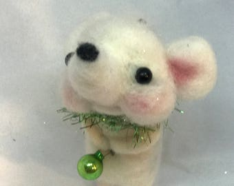 Whitey the  white mouse original one of a kind ornament