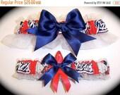 10% OFF SALE New England Patriots Wedding Garter Set    Handmade   Keepsake and Toss Bridal nr1