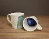 TARDIS inspired Mug  Police Box  Geek Pottery  Whovian  Fan Art Mug  Illustrated Ceramics 