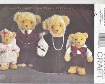 Vogue 8959 Bear Family Outfits Only Shirt Vest Dress Blouse Pantaloons Scarf Sewing Pattern Uncut Factory Fold Linda Carr Design