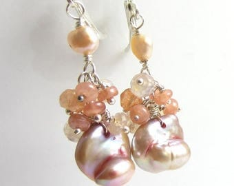 SUMMER SALE Sweet Peach Earrings - Baroque Freshwater Pearls with Peach Quartz and Sunstone