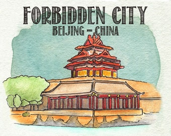 Poster print of illustrated watercolor landmark The FORBIDDEN CITY in Beijing China from World Map by Marley Ungaro