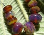 Lampwork/beads/SRA lampwork/glassbeads/Double Helix/opal/purple/