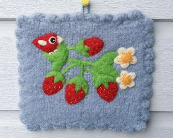 Wall hanging felted light blue wool fiber art hand knit with needle felted birdie bird with strawberry strawberries