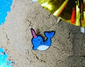 Narwhal Enamel Pin Badge with GLITTERY horn!