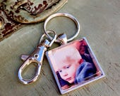 Custom Made Photo Keychain - Choose Your Size - GLASS Photo Keychain with Lobster Clasp or Purse Key Clip Set in Silver Tray