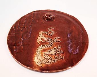 Red Dragon Ceramic Incense Holder