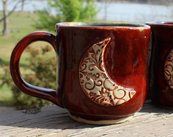 Blood Moon Mug - reds and browns, blue interior