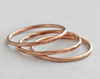 Rose Gold Stacking Ring, Rose Gold Ring in Hammered, Line Hammered or Faceted, Rose Gold Band, Thumb Ring, Ring Set, Knuckle Ring, Audrey