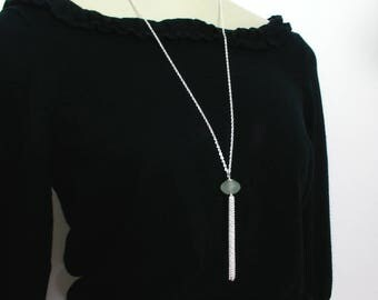 Silver Tassel Necklace, Jade Necklace, Long Necklace, Green Bead Necklace, Ready to Ship Jewelry, Canadian Seller, Gift for Her