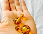 SALE Large Amber Barbell Post Earrings. Double Sided. Chiapas, Mexico Amber. Hand Shaped by Mayan Artisan