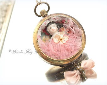 Pretty in Pink Rose Frozen Charlotte Pocketwatch Necklace Miniature Doll  Diorama Pocket Watch Pendant Lorelie Kay Original