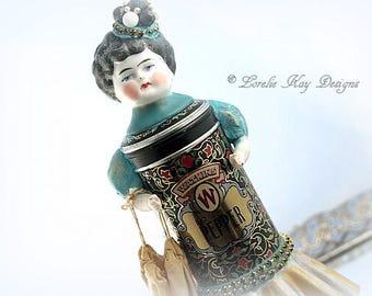 Pepper Tin Art Doll Box Miniature Assemblage Art Doll Sculpture Kitchen Art Spice Tin Decoration Lorelie Kay Original