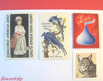 Girl Birthday Postage Stamps, Chocolate - Little Girl - Blue Bird - Cat Postage, Mail 10 Invites or Greeting Cards, 50 cents 1 oz stamps