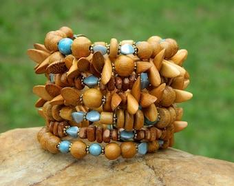 Boho Czech Bead and Jackfruit(Nangka) Wood Bead Bangle