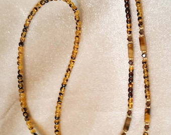 Shimmering Brown Tigereye Tortoise Shell Crystal Eyeglass Chain Holder